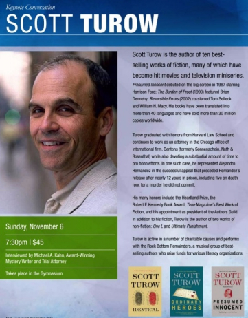 An Evening with Scott Turow–November 6th at 7:30 PM